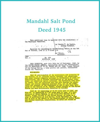 Mandahl Salt Pond Deed 1945